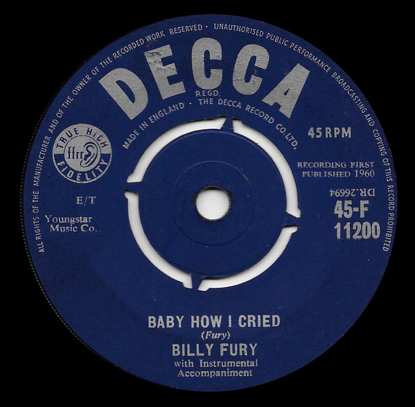Billy Fury collette / baby how i cried